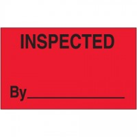"Fluorescent Red ""Inspected By"" Production Labels, 3 x 5"""