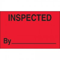 "Fluorescent Red ""Inspected"" Production Labels, 1 1/4 x 2"""