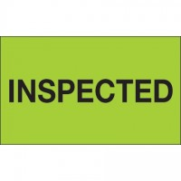 "Fluorescent Green ""Inspected"" Production Labels, 3 x 5"""