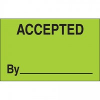 "Fluorescent Green ""Accepted By"" Production Labels, 1 1/4 x 2"""