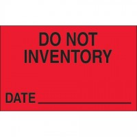 "Fluorescent Red ""Do Not Inventory - Date"" Production Labels, 1 1/4 x 2"""