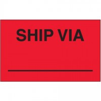 "Fluorescent Red ""Ship Via"" Production Labels, 3 x 5"""