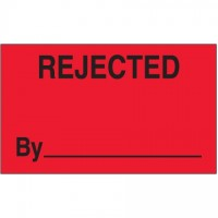 "Fluorescent Red ""Rejected By"" Production Labels, 3 x 5"""