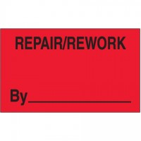 "Fluorescent Red ""Repair/Rework By"" Production Labels, 3 x 5"""