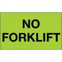 "Fluorescent Green ""No Forklift"" Production Labels, 3 x 5"""