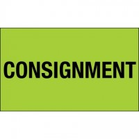 "Fluorescent Green ""Consignment"" Production Labels, 3 x 5"""