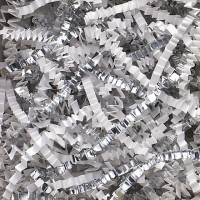 Crinkle Paper, White and Silver Metallic Blend, 10 Pounds
