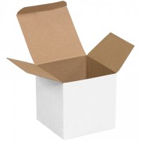"Chipboard Boxes, Folding Cartons, Reverse Tuck, 4 x 4 x 4"", White"