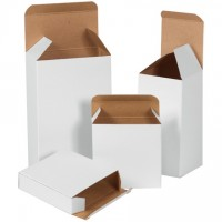 "Chipboard Boxes, Folding Cartons, Reverse Tuck, 3 x 3 x 6"", White"