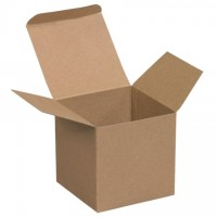 "Chipboard Boxes, Folding Cartons, Reverse Tuck, 4 x 4 x 4"", Kraft"