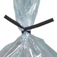 Plastic Twist Ties, Black, Pre-Cut, 4 x 5/32""