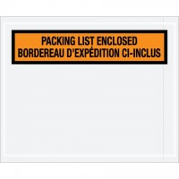 "Bilingual ""Packing List Enclosed"" Envelopes, Orange, 4 1/2 x 5 1/2"""