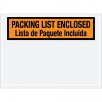 "Bilingual ""Packing List Enclosed"" Envelopes, Orange, 7 1/2 x 5 1/2"""