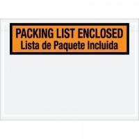 "Bilingual ""Packing List Enclosed"" Envelopes, Orange, 7 1/2 x 5 1/2"""