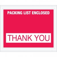 """Packing List Enclosed - Thank You"" Envelopes, Red, 4 1/2 x 5 1/2"""