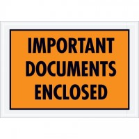 """Important Documents Enclosed"" Envelopes, Orange, 5 1/4 x 7 1/2"""