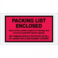 """Packing List Enclosed"" Envelopes, Red, 5 1/2 x 10"""