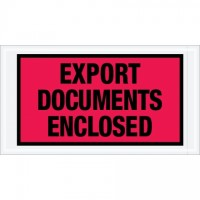 """Export Documents Enclosed"" Envelopes, Red/Black, 5 1/2 x 10"""