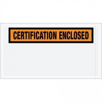 """Certification Enclosed"" Envelopes, Orange, 5 1/2 x 10"""