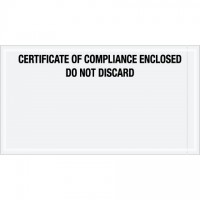 """Certificate of Compliance Enclosed"" Envelopes, Black, 6 x 11"""