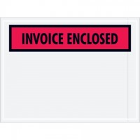 """Invoice Enclosed"" Envelopes, Red, 4 1/2 x 6"""