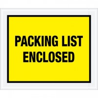 """Packing List Enclosed"" Envelopes, Yellow, 10 x 12"", Full Face"