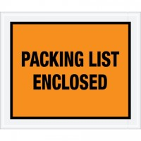 """Packing List Enclosed"" Envelopes, Orange, 10 x 12"", Full Face"