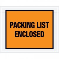 """Packing List Enclosed"" Envelopes, Orange, 7 x 5 1/2"", Full Face"