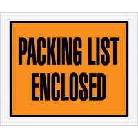 """Packing List Enclosed"" Envelopes, Orange, 4 1/2 x 5 1/2"", Full Face"
