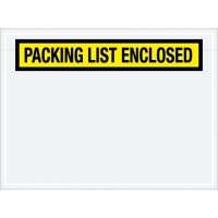 """Packing List Enclosed"" Envelopes, Yellow, 6 3/4 x 5"", Panel Face"
