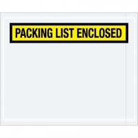 """Packing List Enclosed"" Envelopes, Yellow, 4 1/2 x 5 1/2"", Panel Face"