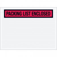 """Packing List Enclosed"" Envelopes, Red, 4 1/2 x 6"", Panel Face"