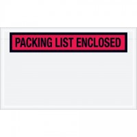 """Packing List Enclosed"" Envelopes, Red, 4 1/2 x 7 1/2"", Panel Face"
