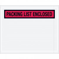 """Packing List Enclosed"" Envelopes, Red, 4 1/2 x 5 1/2"", Panel Face"