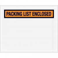 """Packing List Enclosed"" Envelopes, Orange, 4 1/2 x 5 1/2"", Panel Face"