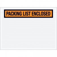 """Packing List Enclosed"" Envelopes, Orange, 4 1/2 x 6"", Panel Face"