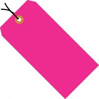Fluorescent Pink Pre-strung Shipping Tags #1 - 2 3/4 x 1 3/8""