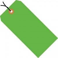 """Fluorescent Green Pre-strung Shipping Tags #1 - 2 3/4 x 1 3/8"""""""