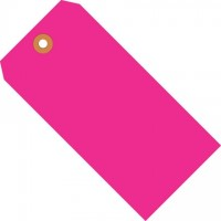 Fluorescent Pink Shipping Tags #1 - 2 3/4 x 1 3/8""