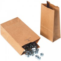 Kraft Paper Hardware Bags, #5, Virgin - 5 1/4 x 3 7/16 x 10 15/16""