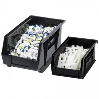 Stackable Plastic Bins, Black, 9 1/4 x 6 x 5""