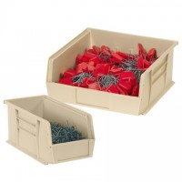 "Stackable Plastic Bins, Ivory, 7 3/8 x 4 1/8 x 3"""