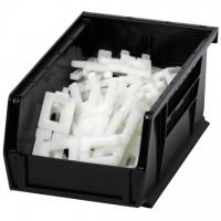 "Stackable Plastic Bins, Black, 7 3/8 x 4 1/8 x 3"""