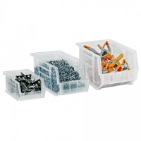 Stackable Plastic Bins, Clear, 7 3/8 x 4 1/8 x 3""