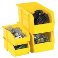 "Stackable Plastic Bins, Yellow, 7 3/8 x 4 1/8 x 3"""