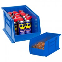 Stackable Plastic Bins, Blue, 7 3/8 x 4 1/8 x 3""