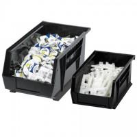 "Stackable Plastic Bins, Black, 5 3/8 x 4 1/8 x 3"""