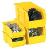Stackable Plastic Bins, Yellow, 5 3/8 x 4 1/8 x 3""
