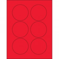 Fluorescent Red Circle Laser Labels, 3""