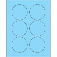 """Fluorescent Pastel Blue Circle Laser Labels, 3"""""""